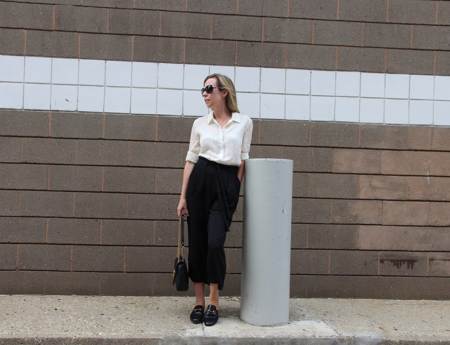 smart black cropped trousers