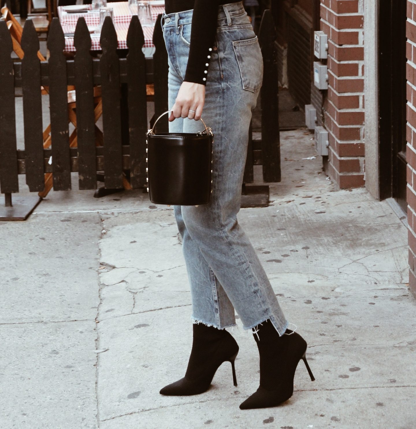 Grlfriend jeans sock boots and bucket bag