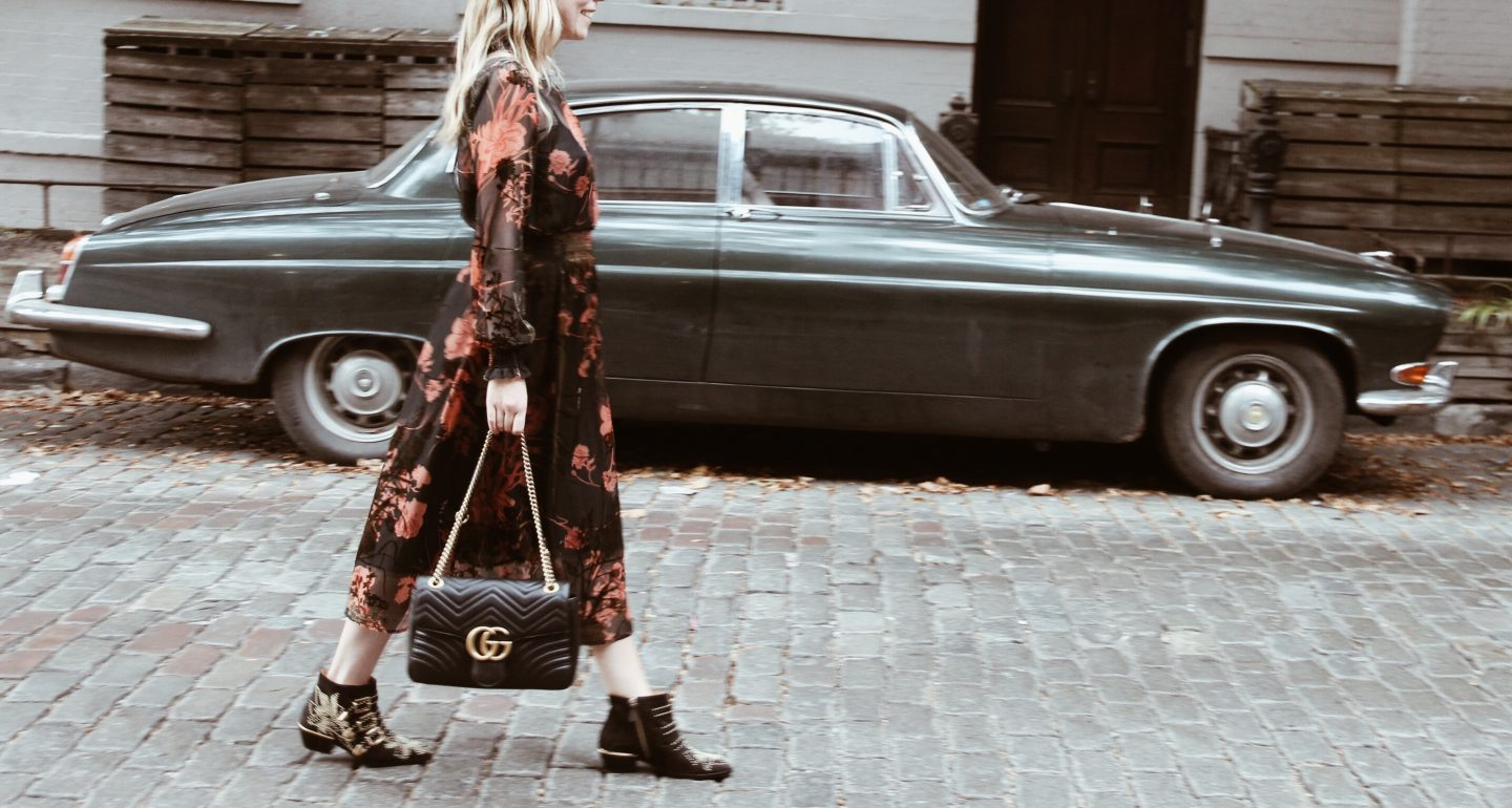 Gucci Marmont Bag and Long Floral Dress