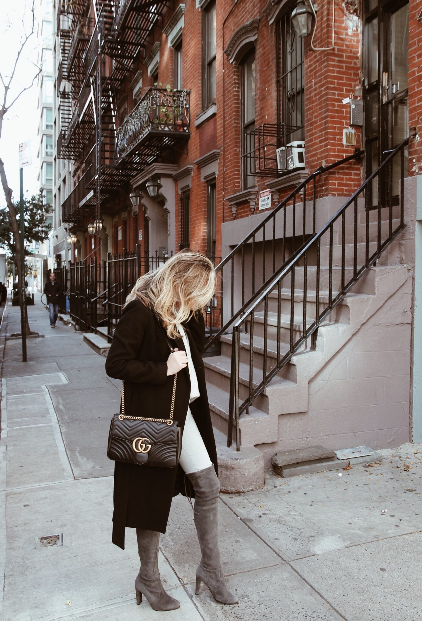 Over the Knee Winter Boots and Gucci Marmont Medium Bag