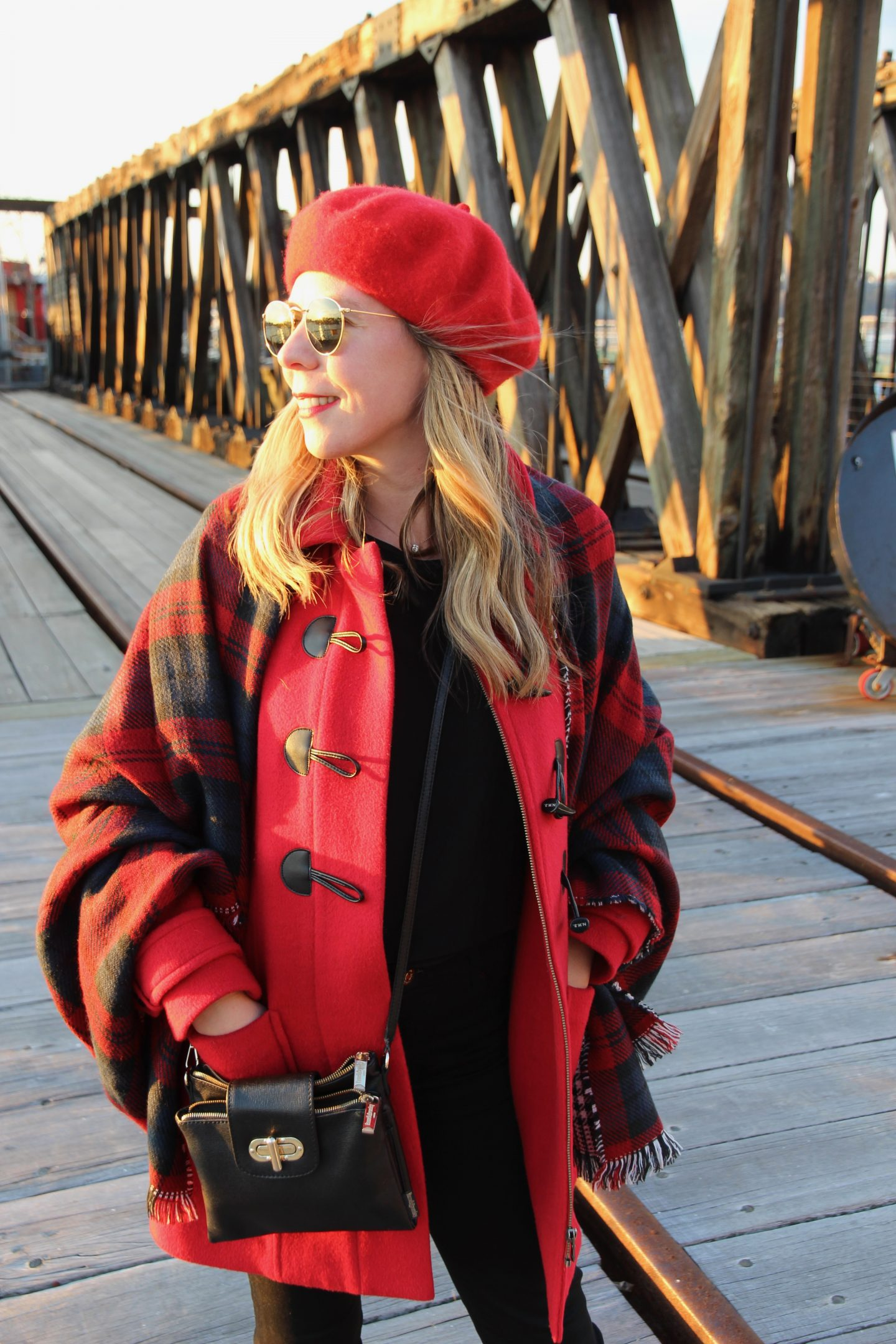 red beret and red duffle coat
