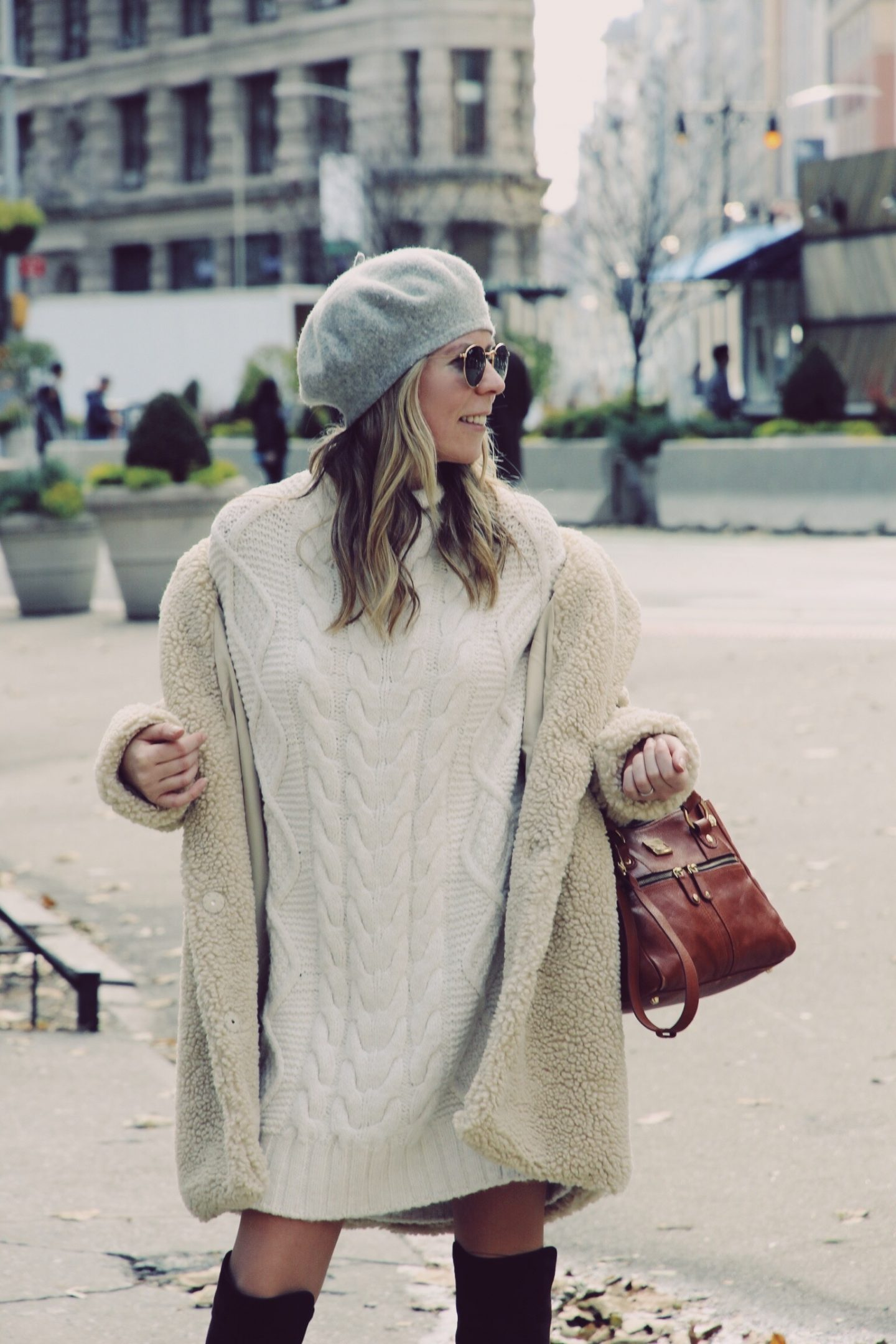 Teddy Bear Coat and Sweater Dress