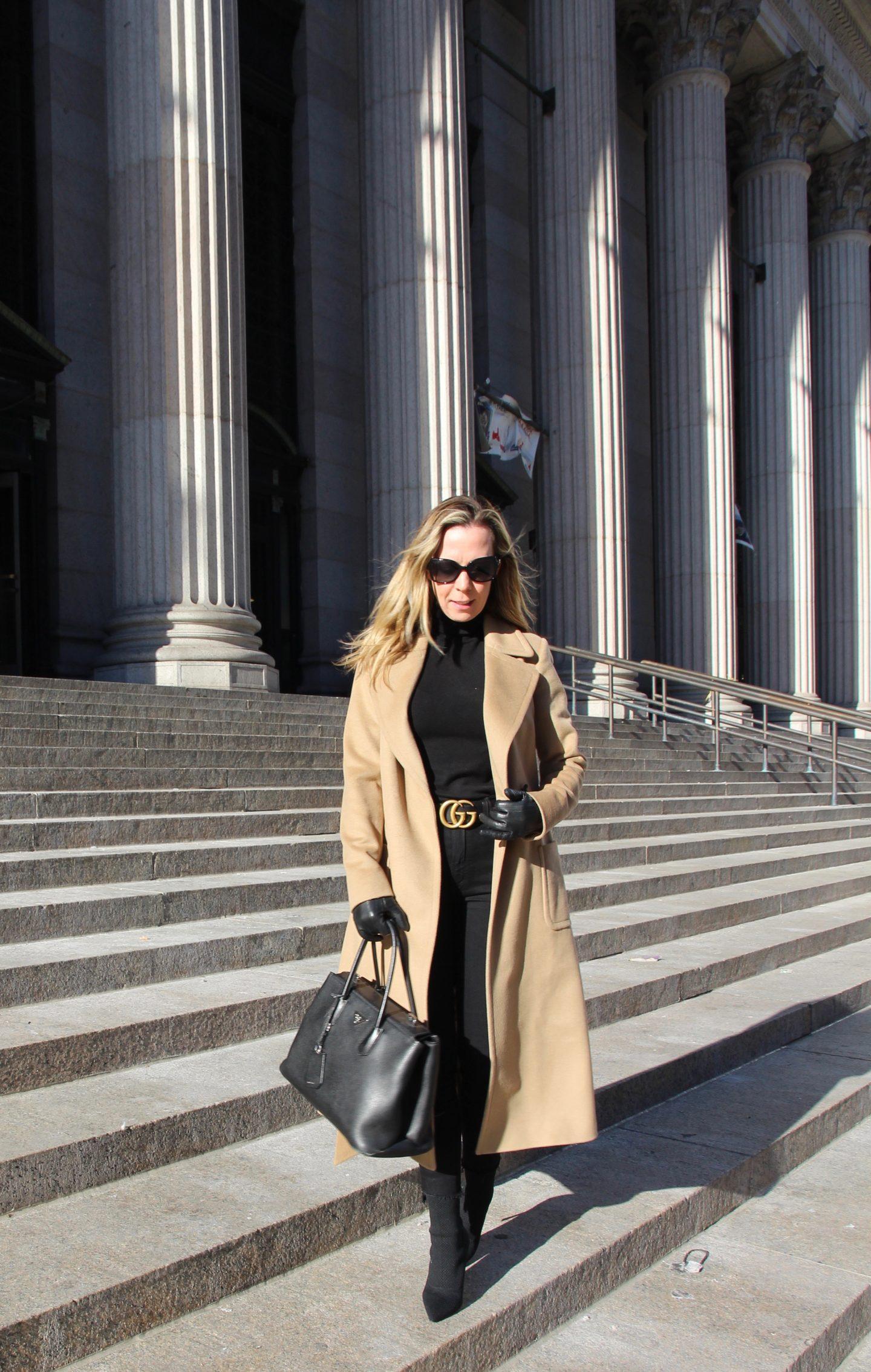 Camel coat and Gucci Belt