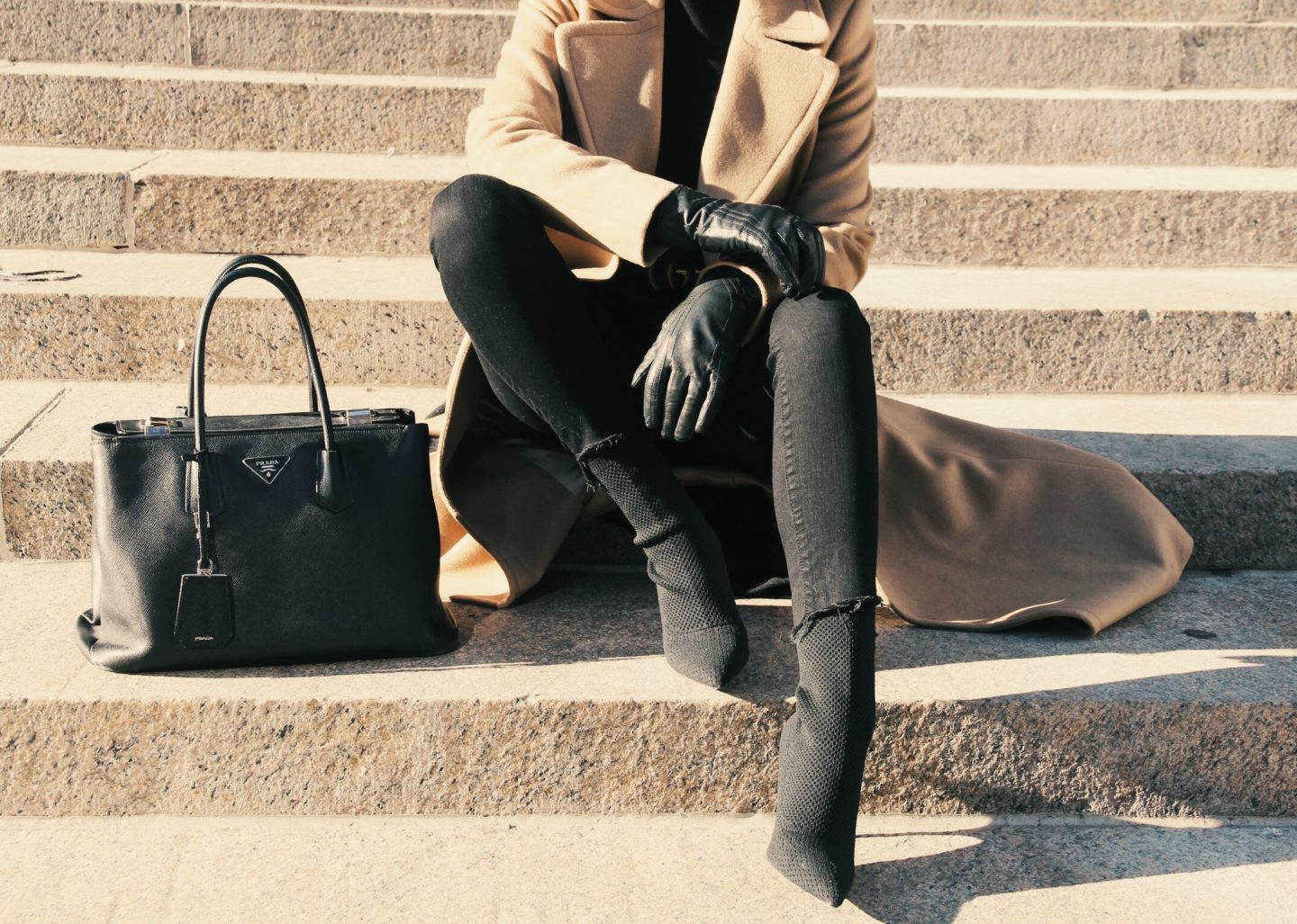 Camel Coat and Black Denim
