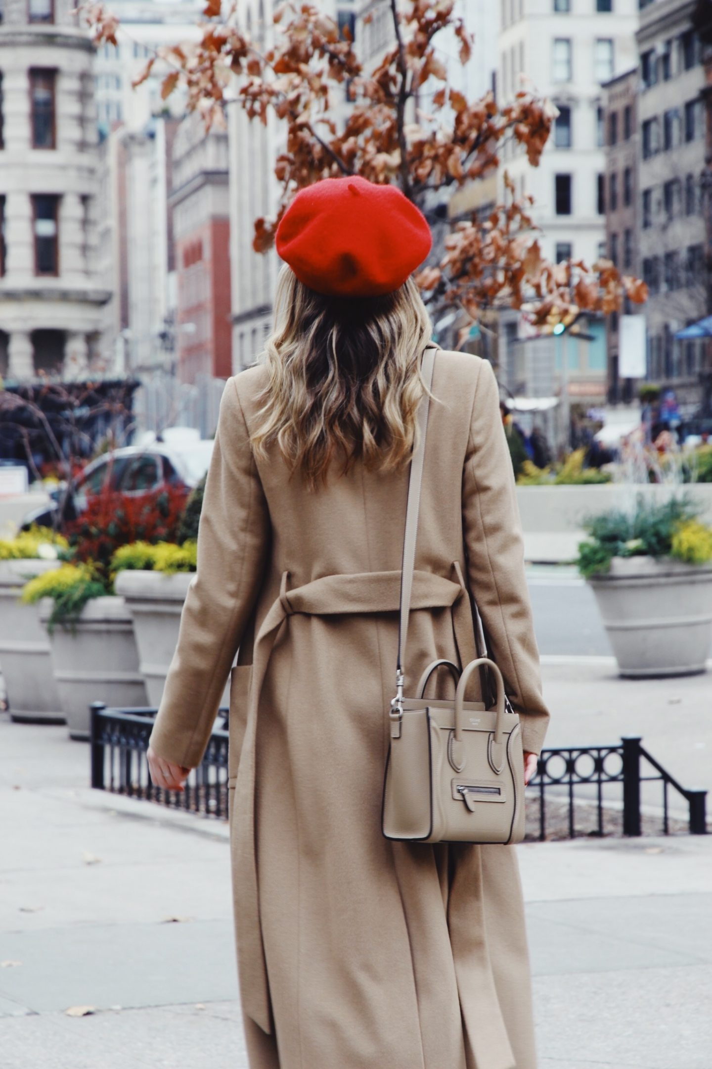 Camel Coat and Celine Nano Bag