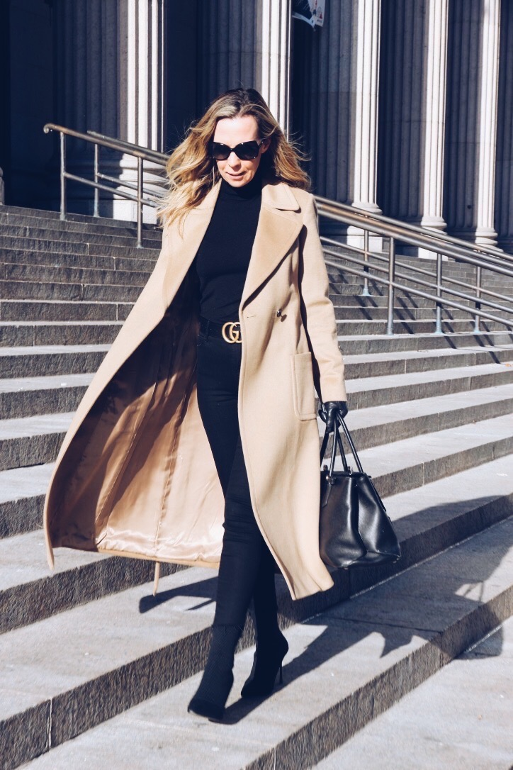 Lisa Morgan Wearing Long Camel Coat