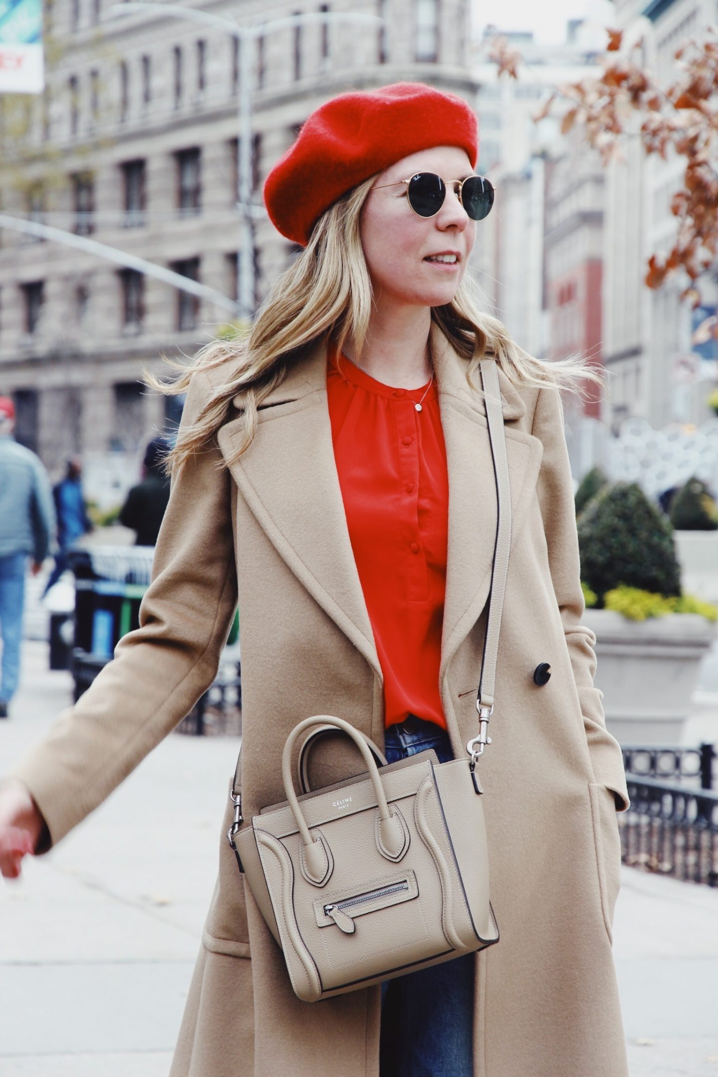Long Camel Coat and Celine Handbag