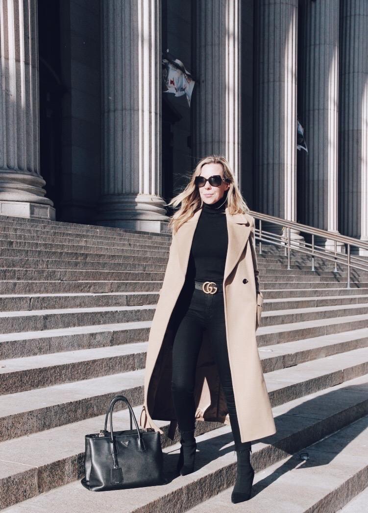 New York City Woman Wearing Long Camel Coat