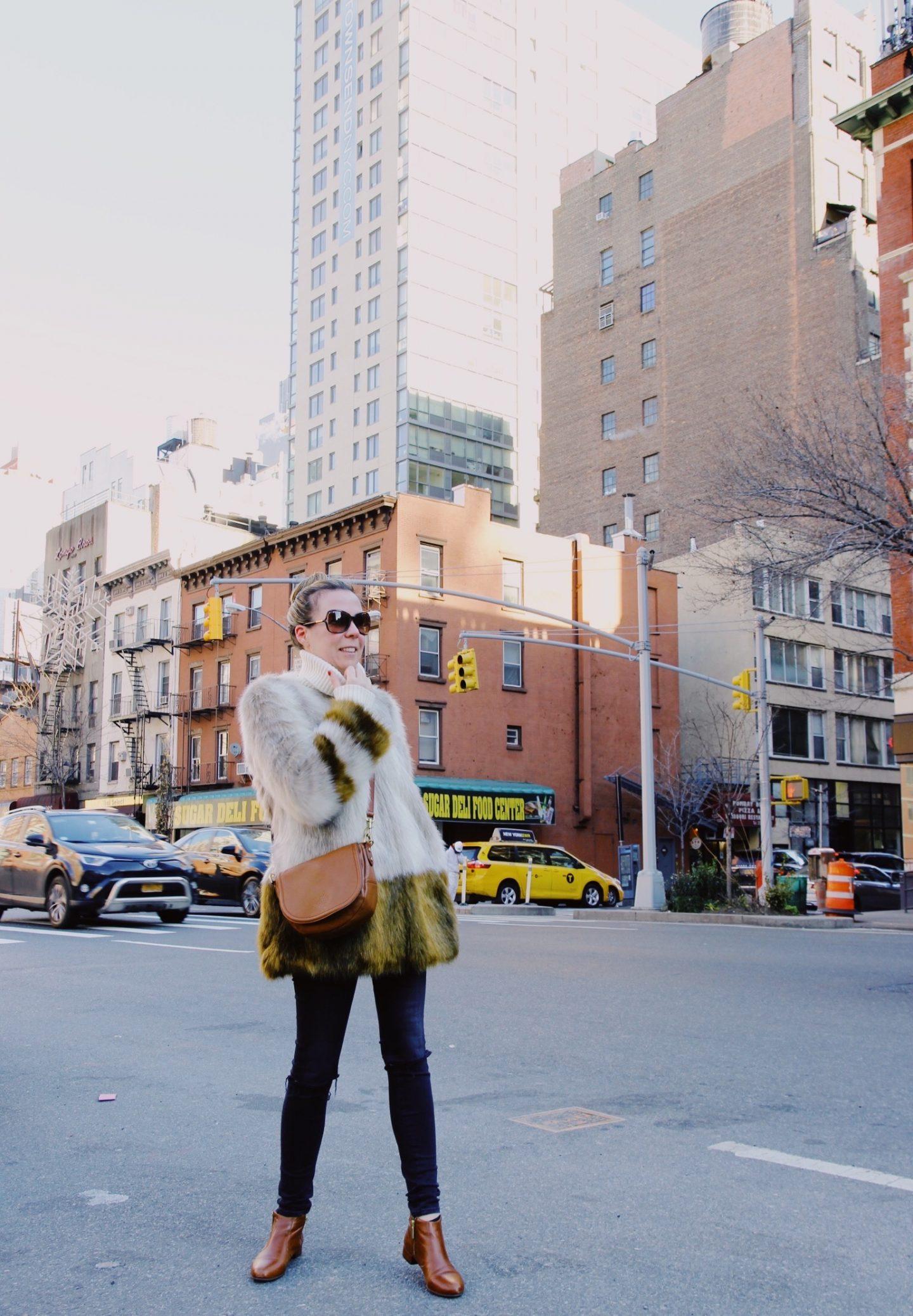 Faux Fur Coat and Mulberry Handbag