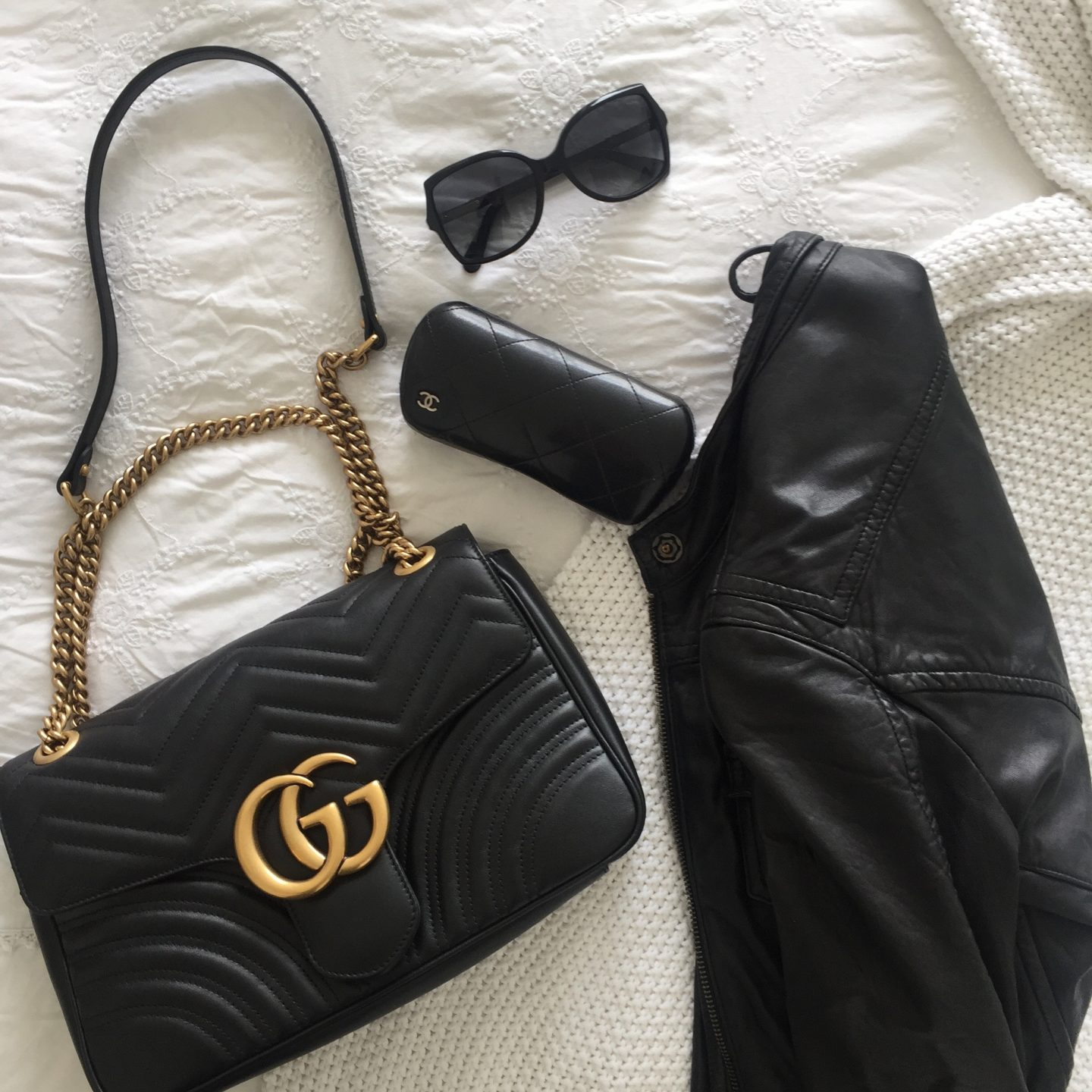 Gucci Marmont Medium Handbag and black accessories