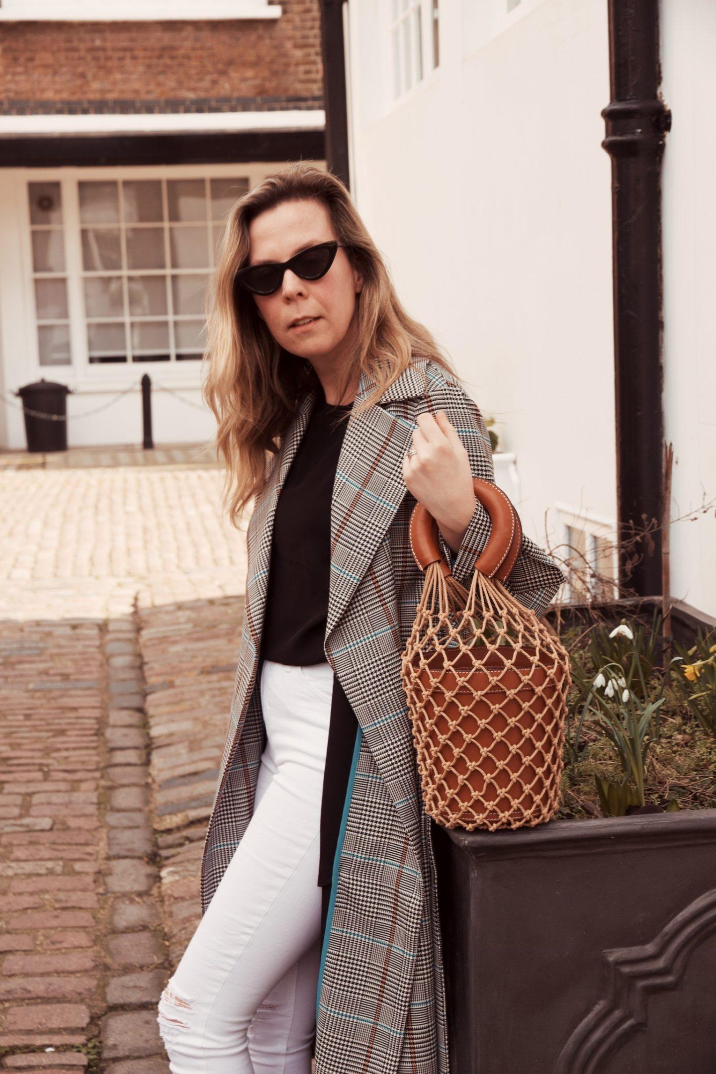 Lisa Morgan Wearing Topshop Checked Trench Coat and Staud Bucket Bag