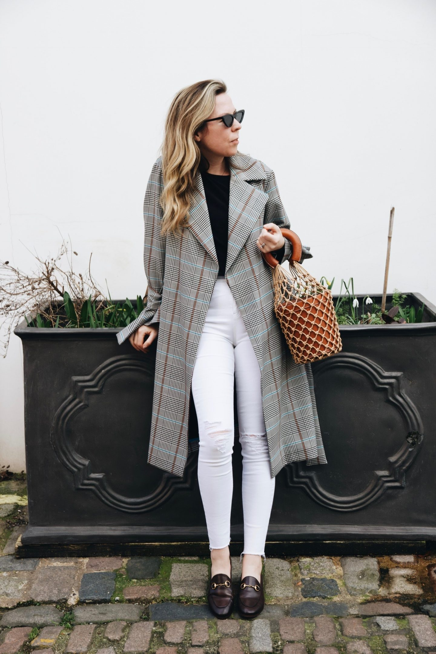 Topshop Checked Trench Coat