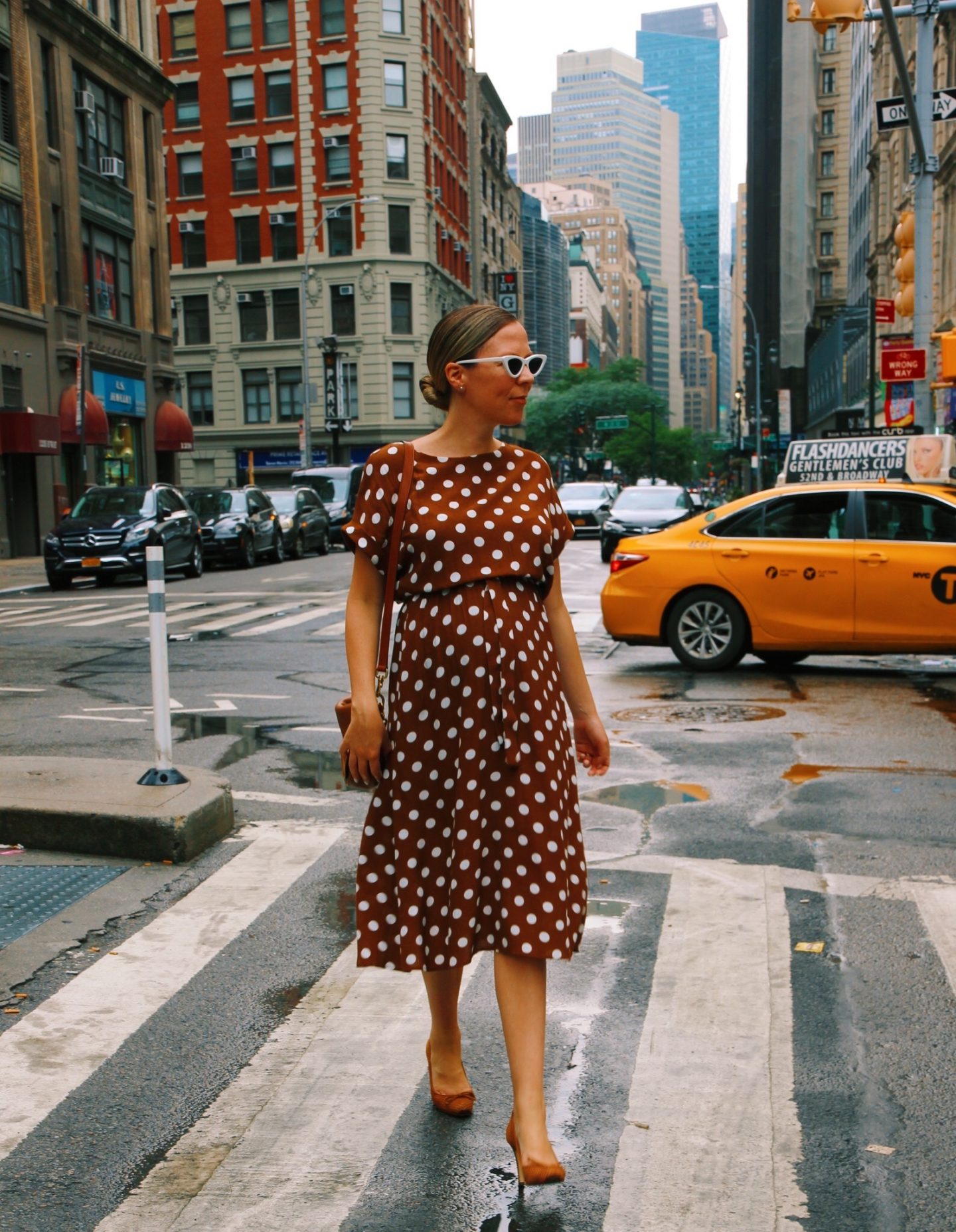 Brown and White Polka Dot Dress