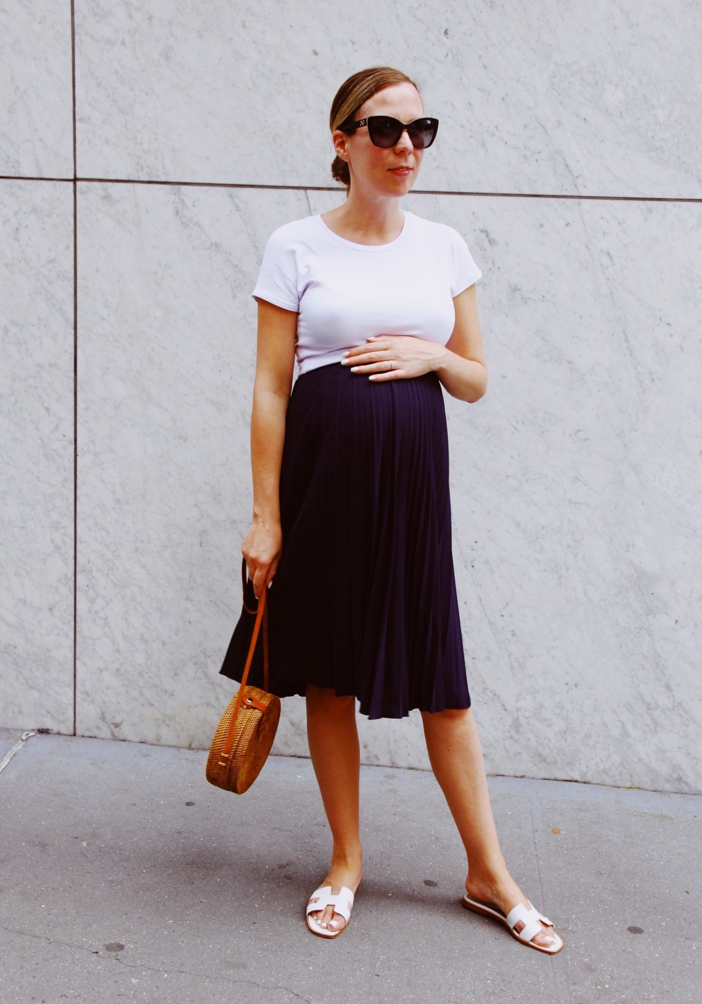 Pleated Skirt and Hermes Oran Sandals