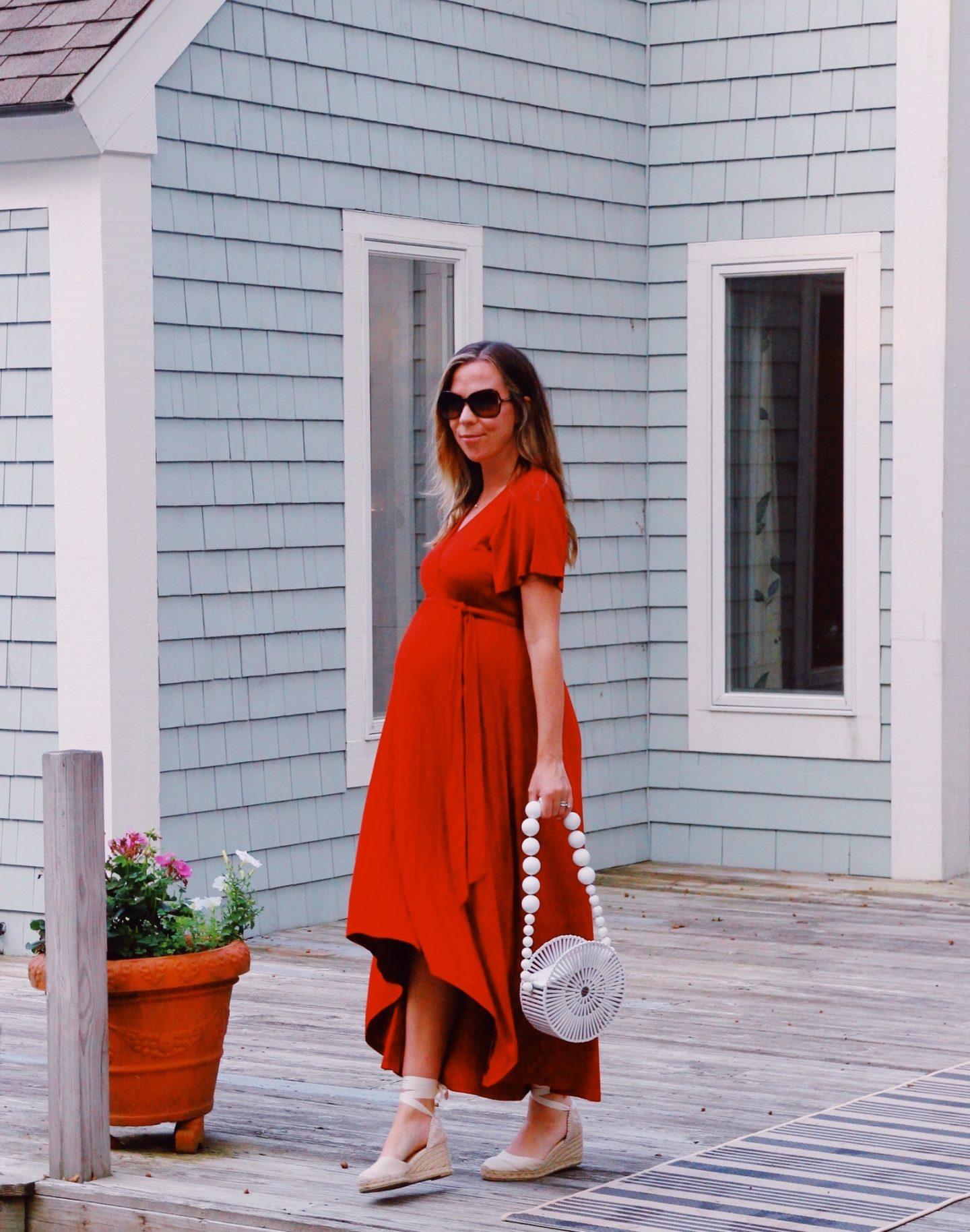 Long Red Dress and Cult Gaia Bag