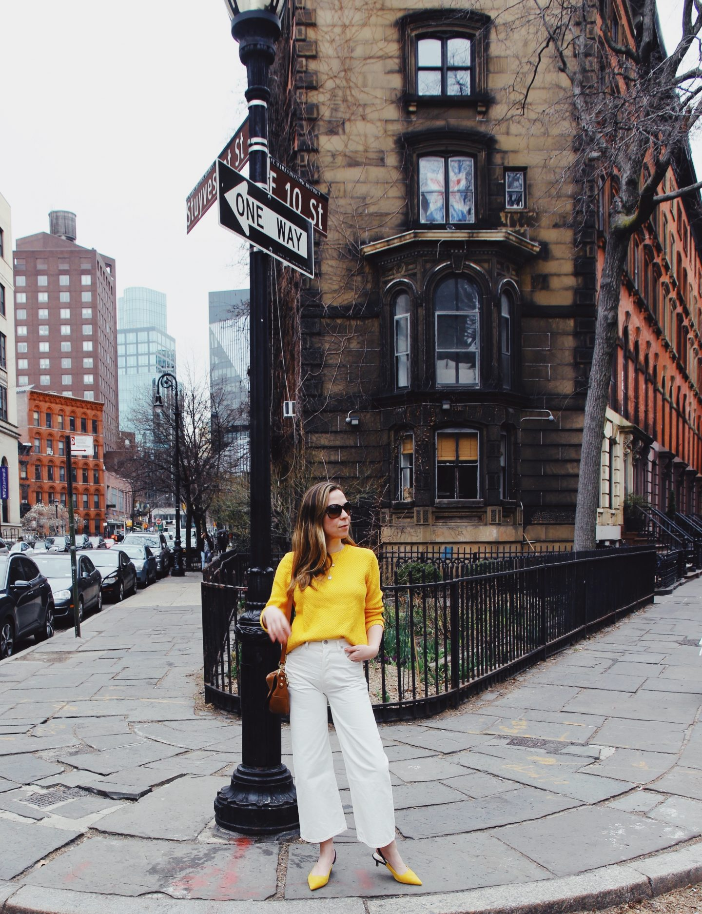 Boden Yellow Sweater and Slingback Heels